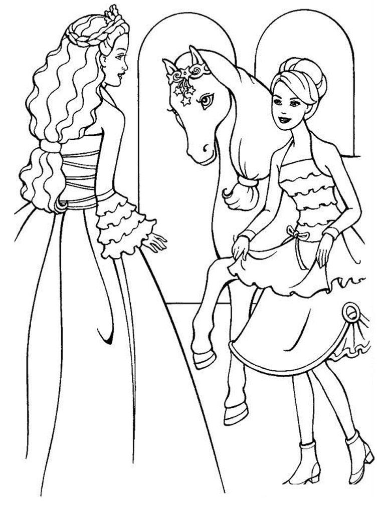 coloriage barbie cheval en ligne
