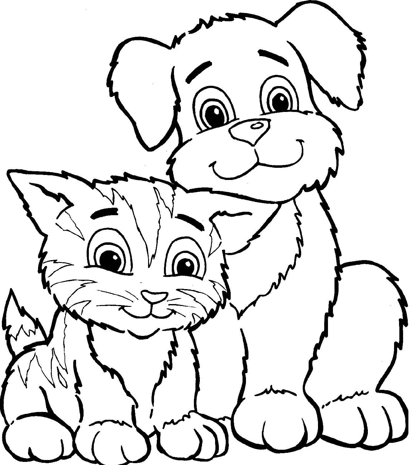 Coloriage chat et chien à imprimer