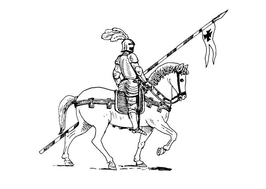 Coloriage chevalier sur son cheval