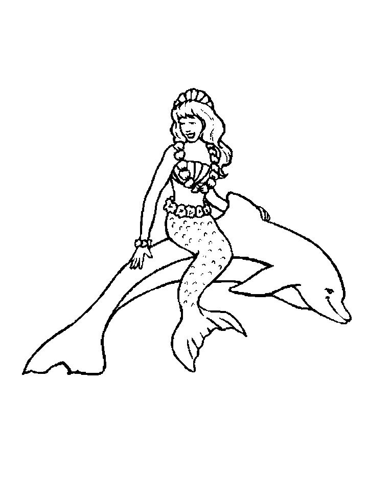 Coloriage dauphin et sirene a imprimer