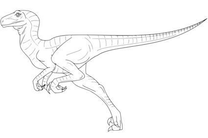 Coloriage dinosaure raptor