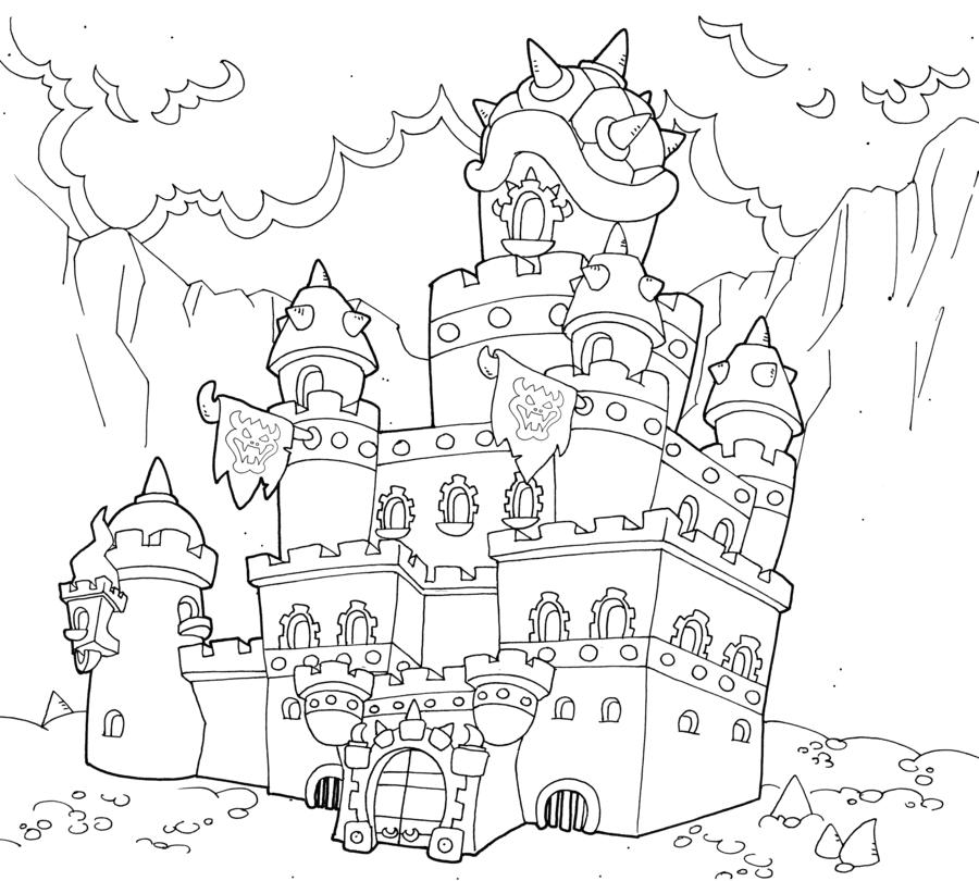 Coloriage du chateau de bowser 1001 animaux - Chateau coloriage ...