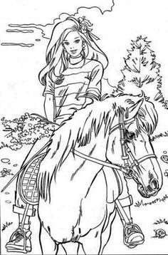 Coloriage en ligne barbie cheval