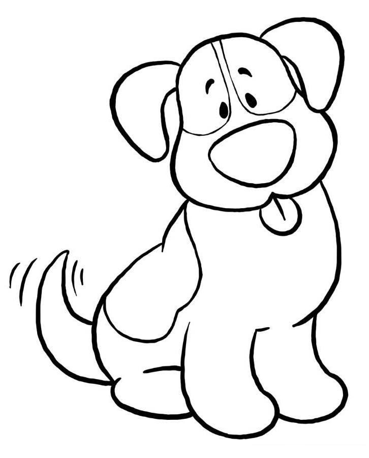 Coloriage facile chien 1001 animaux - Dessin chien facile ...
