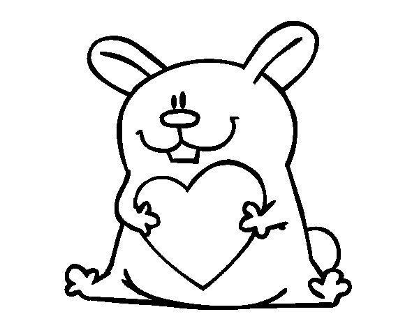Coloriage lapin coeur