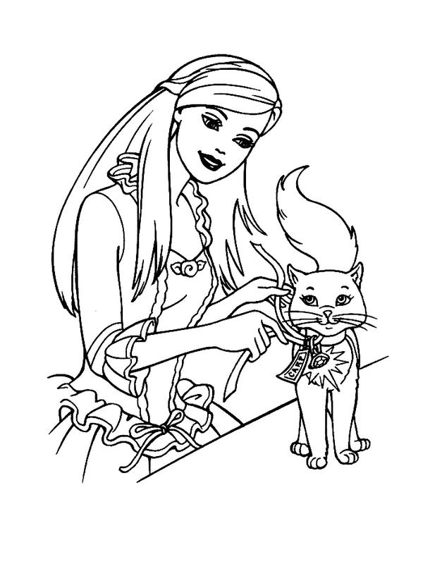 Coloriage princesse avec chat
